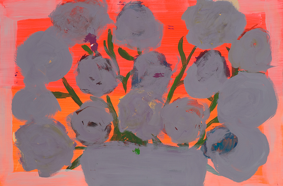FLOWERS silver - 2007 - Oil on panel - 24 x 36 inches